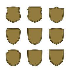 shield shape bronze icons set simple silhouette vector image