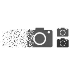 Shredded pixel halftone photo camera icon vector