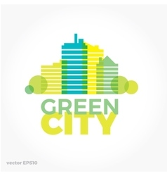 Sound equalizer symbol logo Green ecological city vector image