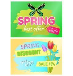 spring best offer promo tag springtime discount vector image