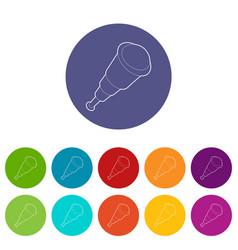 spyglass icons set color vector image