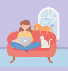 Stay at home girl using laptop sitting on sofa vector