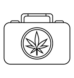 Suitcase with marijuana icon outline style vector image