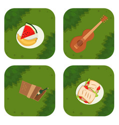 Summer picnic basket products wine grass vector