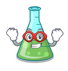 Super hero science beaker character cartoon vector