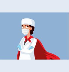 Superhero female doctor wearing a cape vector