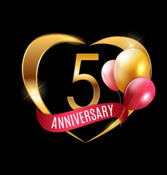 Template gold logo 5 years anniversary with ribbon vector
