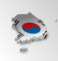 Three dimensional map of South Korea in flag color vector image