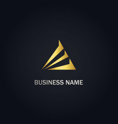 triangle shape company gold logo vector image