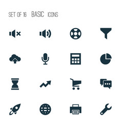 user icons set with trend globe launch and other vector image