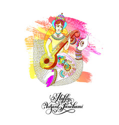 vasant panchami - greeting card to indian holiday vector image