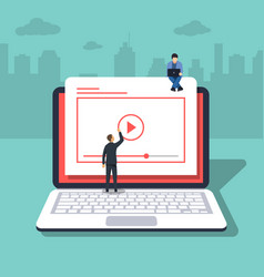 video concept of young people laptop vector image