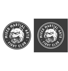 Vintage fight club monochrome round label vector