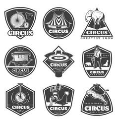 Vintage monochrome circus labels set vector