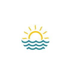 water ocean sun logo vector image