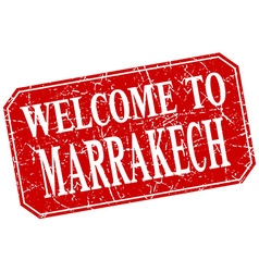 Welcome to marrakech red square grunge stamp vector
