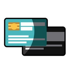 white background with credit card with chip with vector image