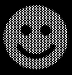 White dot glad smile icon vector