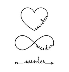winter - word with infinity symbol hand drawn vector image