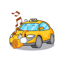 With trumpet taxi character mascot style vector