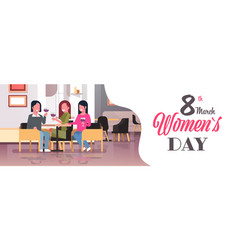 women drinking wine international happy 8 march vector image