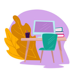 workplace with laptop books and school supplies vector image