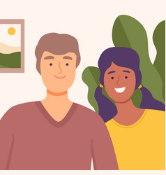 young couple communicating online from home video vector image