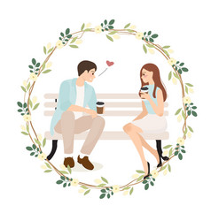 Young couple confession while having coffee vector