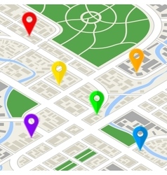 Detailed city map in isometric view with colourful vector image