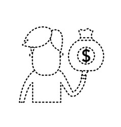 dotted shape man with bag cash money in the hand vector image