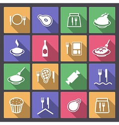 food icons in flat design vector image