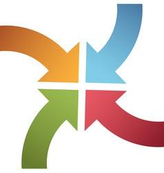 four curve color arrows converge point center vector image vector image