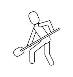 man shovel digging work construction outline vector image