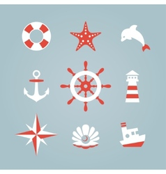 Sea icon collection isolated on a blue background vector image