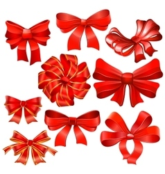 Set of red gift bow with ribbons vector image vector image