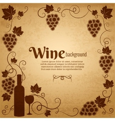 Wine and grapes frame with central copyspace vector image vector image