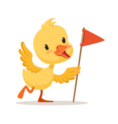 yellow cartoon duckling holding red flag cute vector image