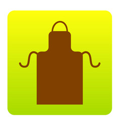 apron simple sign brown icon at green vector image