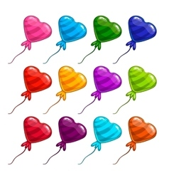 Big set with balloon in form heart vector image vector image