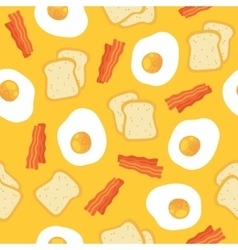 Breakfast seamless pattern with eggs and bacon vector image