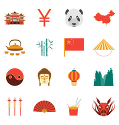 cartoon chinese culture and tourism colorful icons vector image vector image