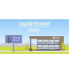 Facade gadgets shop in the urban space the sale vector image vector image