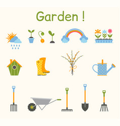 set of various gardening items garden tools vector image vector image