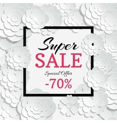 Spring sale banner with 3d paper cut vector image vector image