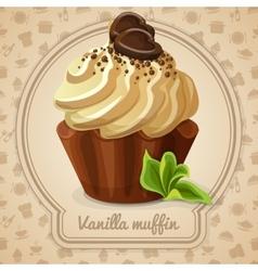 Vanilla muffin label vector image vector image