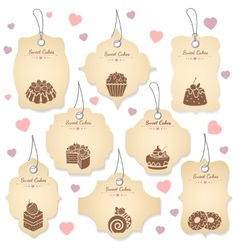 Cakes and desserts tag labels vector image vector image