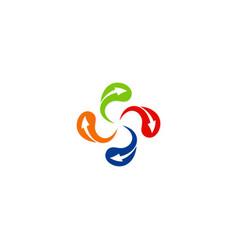 circle arrow technology color logo vector image