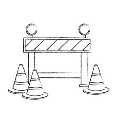 construction fence signal icon vector image vector image