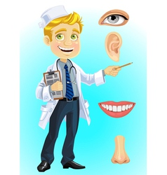 Cute blond doctor indicating on part of the face vector image vector image
