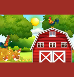 farm scene with chickens on the barn vector image vector image